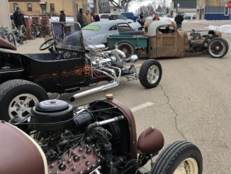Rods line the street at the 1st Annual Polar Rama in Menasha Wisconsin. 1024x983