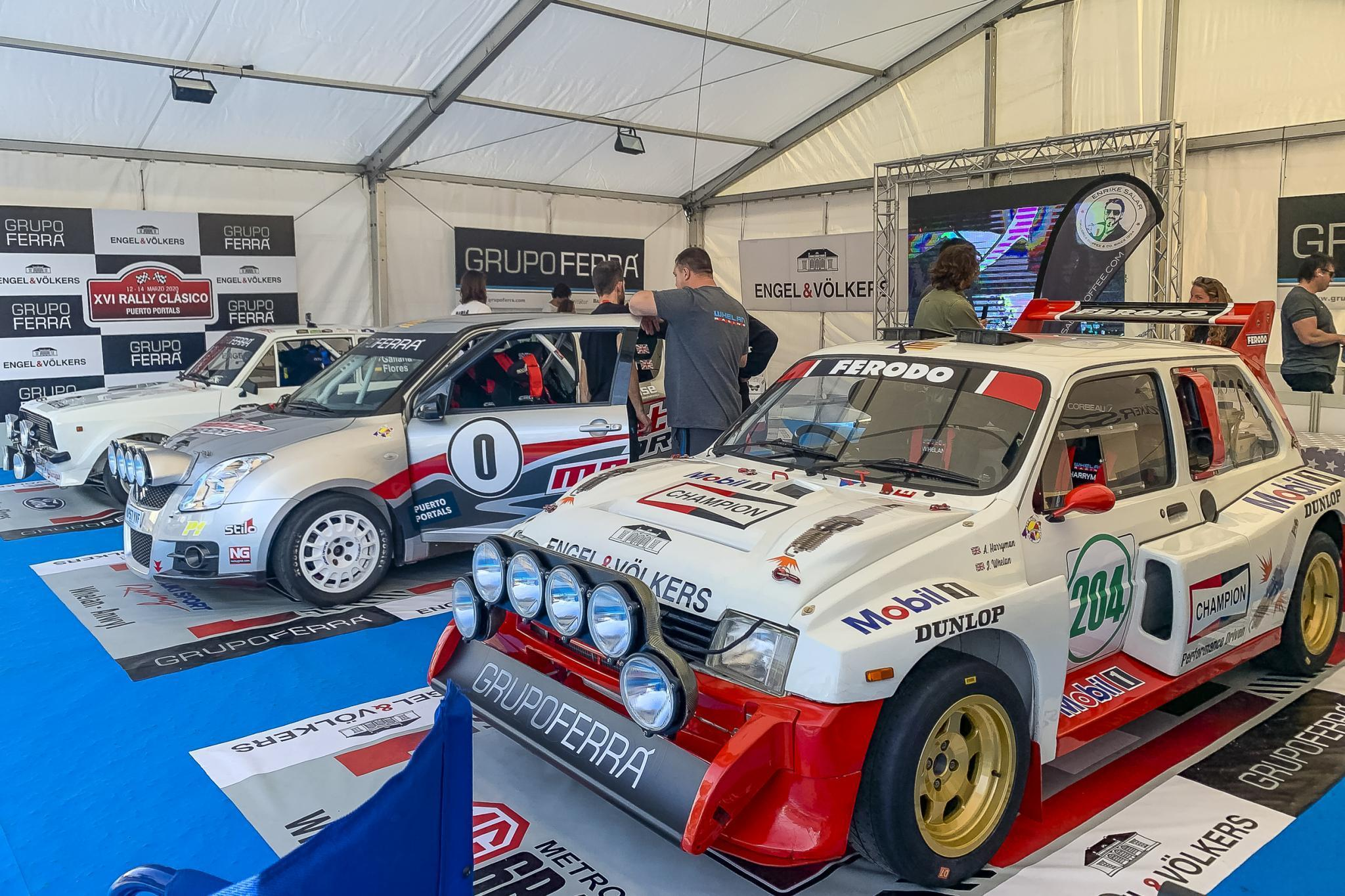 Serious looking pits for serious looking cars, Mini Metro 6R4, Suzuki and Ford Escort.