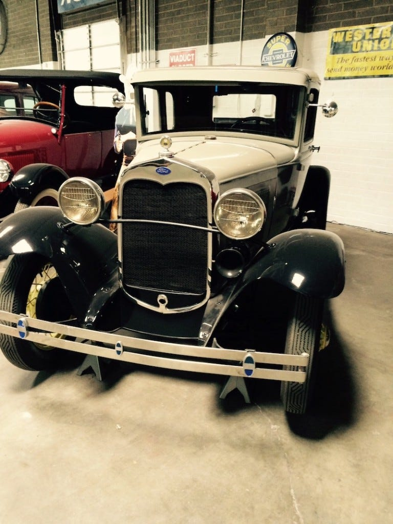 A 1930 Ford Model A is on display at Wayne's Toys in Tucson, Arizona.