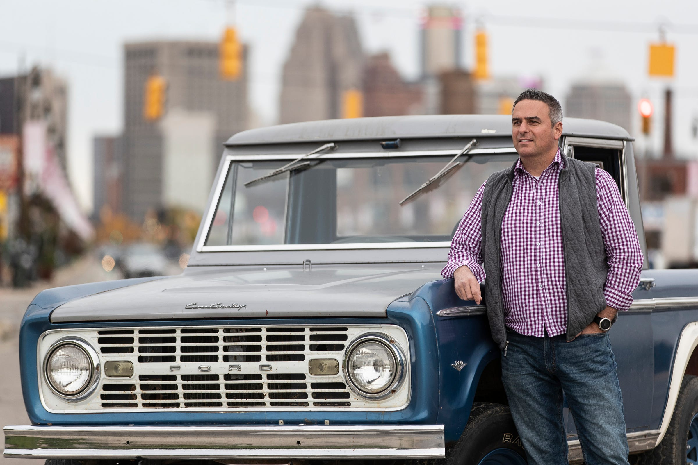 Seth Burgett, CEO of Gateway Bronco in Hamel, Illinois, with his 1966 Ford Bronco that carries VIN number 000. It was the first Ford Bronco ever to roll off the production line. He bought it in 2016.