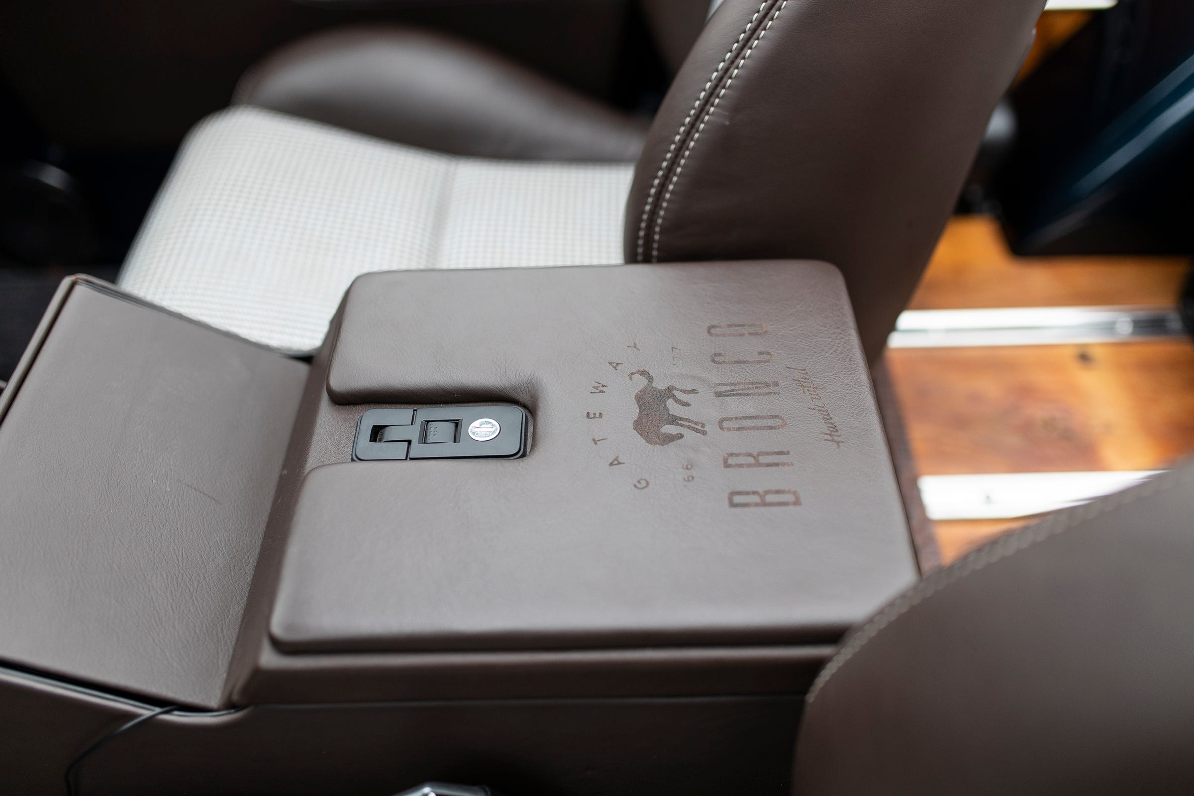 """The interior design of this 1968 re-imagined Ford Bronco, owned by Sean Tracey of Houston, Texas, includes leather used in the Porsche 911R. Tracey had Gateway Bronco rebuild the iconic SUV from scratch, """"engineering out all the 50-year-old problems."""""""