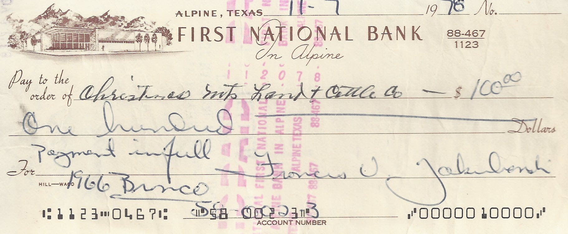 A photo of the original check used to buy a 1966 Ford Bronco, the first built with VIN 000, in 1978 from a Texas company then owned by legendary race car driver Carroll Shelby.