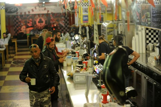 Londons bikers favourite cafe where you can see Harley Davidsons