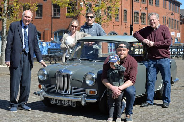 The Riley Cars Heritage Trust, incorporating the Riley Archive, hands over a Riley Elf to a new driver as part of the Classic Car Loan Scheme. Pictured (from left) Victor Riley, 85, Sue Weaver, 56, Nick Weaver, 56, the recipient of the car Joe Dawson, 30, with his son Edward, 3, and Andrew Gray, 65, of the Riley Cars Archive Heritage Trust