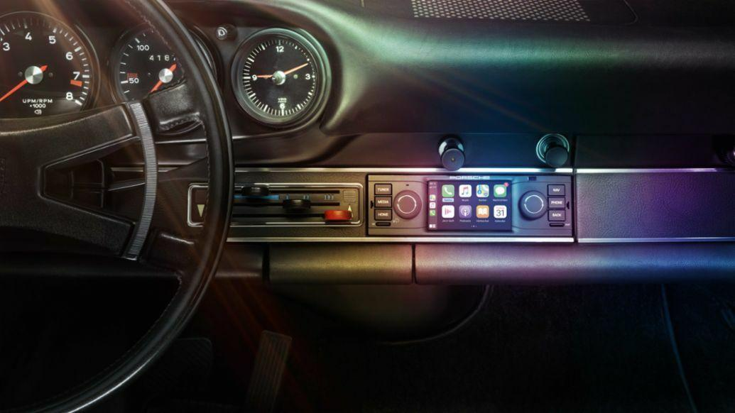 Even classic cars, like this Porsche 911 F from the 1960s, can get a CarPlay upgrade.