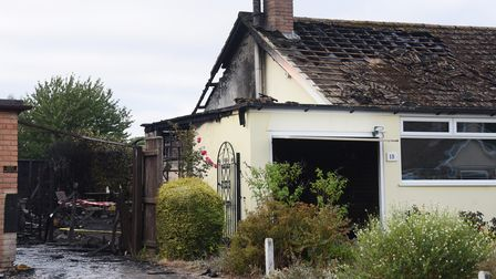 The aftermath of the garage and bungalow fire in Creeting St Mary. Picture: DENISE BRADLEY
