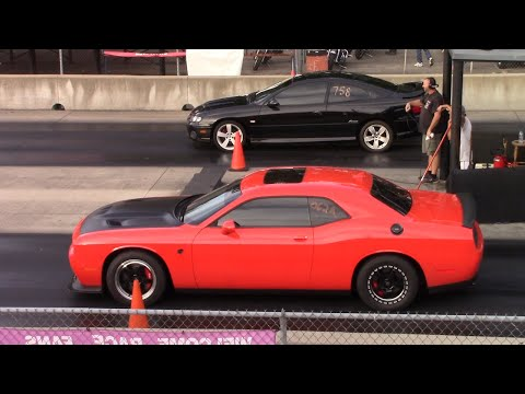 Challenger Hellcat Drags GTO and BMW Classic Wheelie Camaro Poses