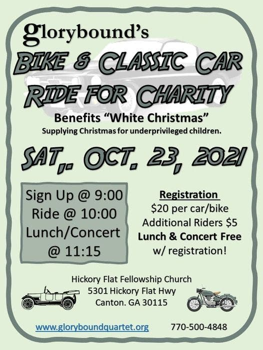 Oct 23 Glorybounds annual BENEFIT BIKE CLASSIC CAR